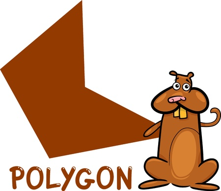 basic shapes: Cartoon Illustration of Polygon Basic Geometric Shape with Funny Hamster Character for Children Education