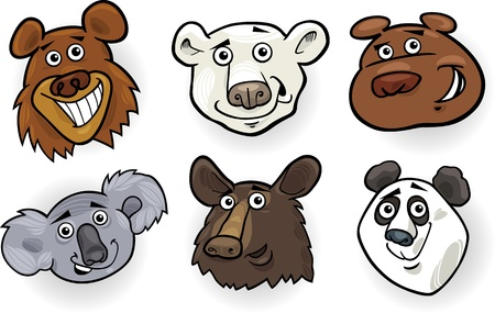 Cartoon Illustration of Different Funny Bears Heads Set  Grizzly, Polar Bear, Panda, Koala and American Black Bear Vector