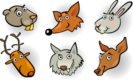 Cartoon Illustration of Different Funny Forest Animals Heads Set  Beaver, Fox, Rabbit or Hare, Deer, Wolf and Doe or Roe Vector