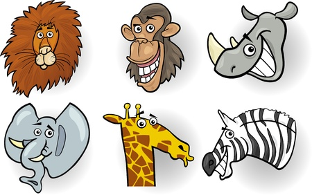 Cartoon Illustration of Different Funny Wild Animals Heads Set  Lion, Chimp, Rhino, Elephant, Giraffe and Zebra Vector