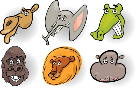 Cartoon Illustration of Different Funny Wild Animals Heads Set  Camel, Crocodile, Gorilla, Elephant, Lion and Hippo Vector