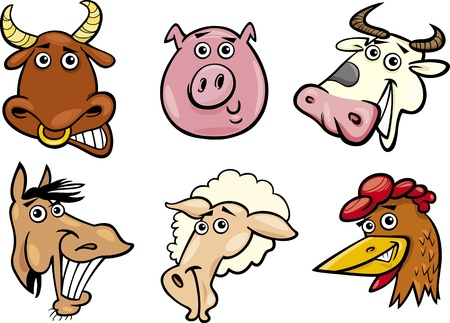 Cartoon Illustration of Different Funny Farm Animals Heads Set  Bull, Pig, Cow, Horse, Sheep and Hen