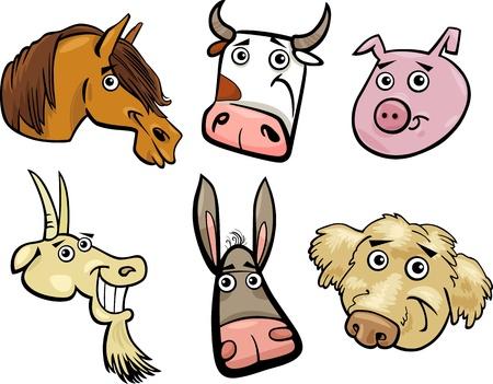 cerdo caricatura: Ilustración de dibujos animados de diferentes animales de la granja divertida Heads Juego cabra, cerdo, vaca, caballo, perro y el burro