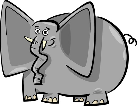 drawings image: Cartoon Humorous Illustration of Funny Gray Elephant  Illustration