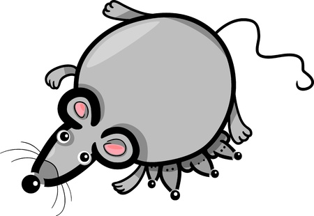 mammy: Cartoon Illustration of Cute Gray Mouse Mother with Little Babies