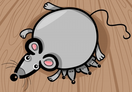 mammy: Cartoon Illustration of Cute Gray Mouse Mother with Little Babies on Wooden Floor