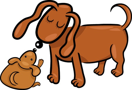 mammy: Cartoon Illustration of Cute Little Puppy and his Dog Mom