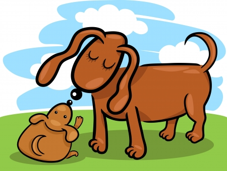 mammy: Cartoon Illustration of Cute Little Puppy and his Dog Mom on the Meadow Against Blue Sky Illustration