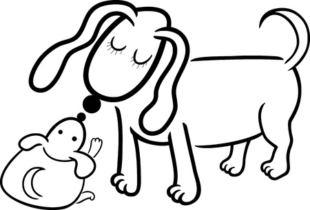 mammy: Cartoon Illustration of Cute Little Puppy and his Dog Mom for Coloring Book Illustration