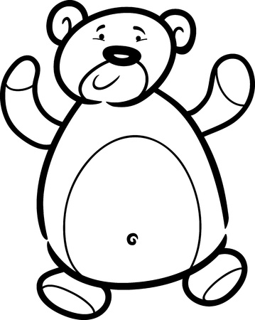 Cartoon Illustration of Cute Teddy Bear Toy for Coloring Book Vector