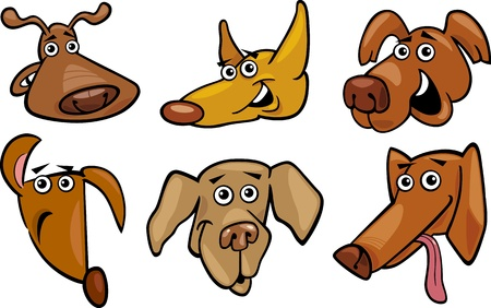 shepherd's companion: Cartoon Illustration of Different Funny Dogs Heads Set
