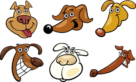 Cartoon Illustration of Different Funny Dogs Heads Set Vector