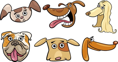 afghan hound: Cartoon Illustration of Different Funny Dogs Heads Set
