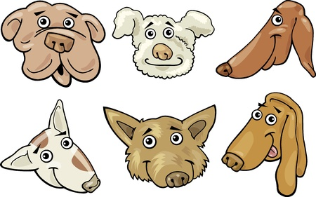 mongrel: Cartoon Illustration of Different Funny Dogs Heads Set