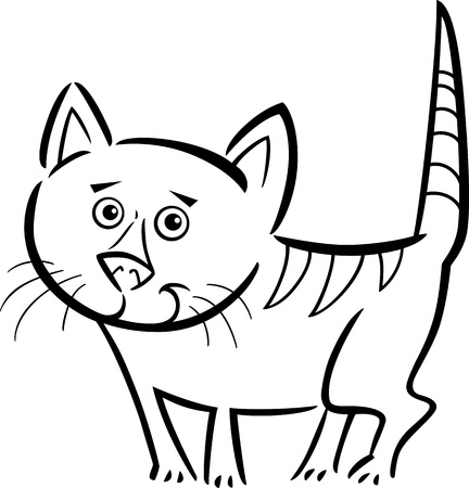 colorless: Cartoon Illustration of Cute Tabby Cat or Kitten for Coloring Book