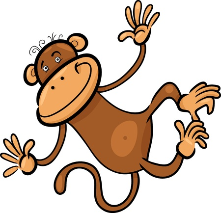 humorous: Cartoon Humorous Illustration of Cute Funny Monkey