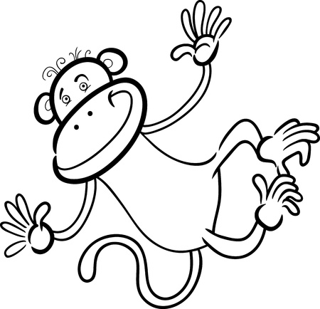 cartoon monkey: Cartoon Humorous Illustration of Cute Funny Monkey for Coloring Book Illustration