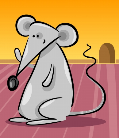 Cartoon Illustration of Cute Little Gray Mouse and her Hole in the Wall Vector