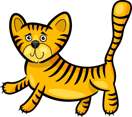 Cartoon Humorous Illustration of Cute Little Tiger Vector