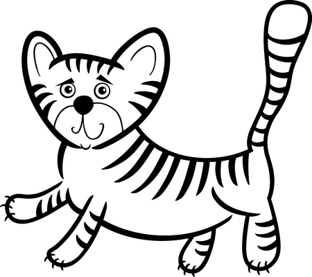 yellow tigers: Cartoon Humorous Illustration of Cute Little Tiger for Coloring Book
