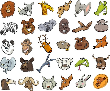 Cartoon Illustration of Different Funny Wild Animals Heads Huge Set Vector
