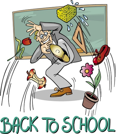 Back to School Illustration Cartoon chistosa del profesor de escuela en la pizarra