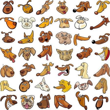 Cartoon Illustration der verschiedenen Funny Dogs Heads Riesige Set