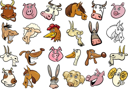Cartoon Illustration of Different Funny Farm Animals Heads Huge Set Vector