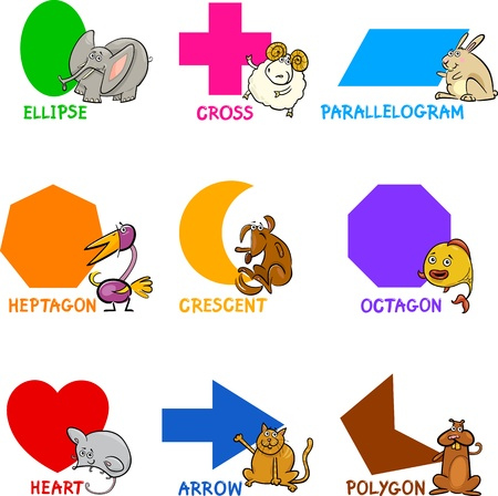 basics: Cartoon Illustration of Basic Geometric Shapes with Captions and Animals Comic Characters for Children Education