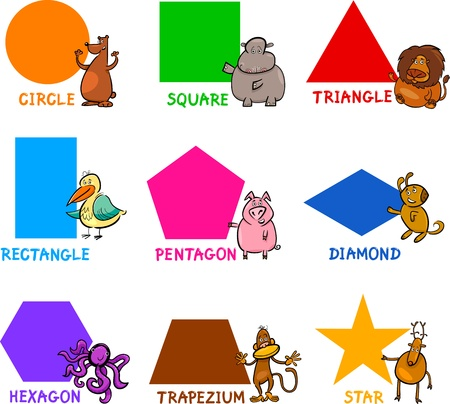 Cartoon Illustration of Basic Geometric Shapes with Captions and Animals Comic Characters for Children Education Vector