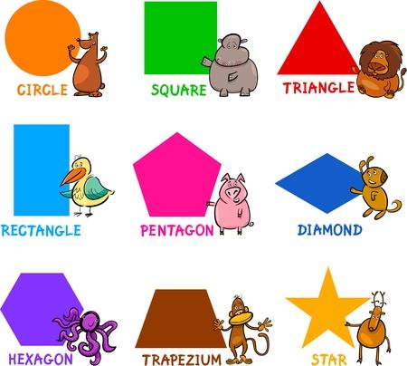 shapes cartoon: Ilustraci�n de dibujos animados de formas geom�tricas b�sicas con subt�tulos y Animales Personajes de historietas para la Educaci�n Infantil