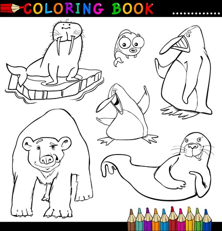 Coloring Book or Page Cartoon Illustration of Funny Marine and Polar Animals for Children