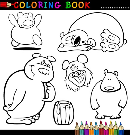 Coloring Book or Page Cartoon Illustration of Funny Bears for Children Stock Vector - 15076915