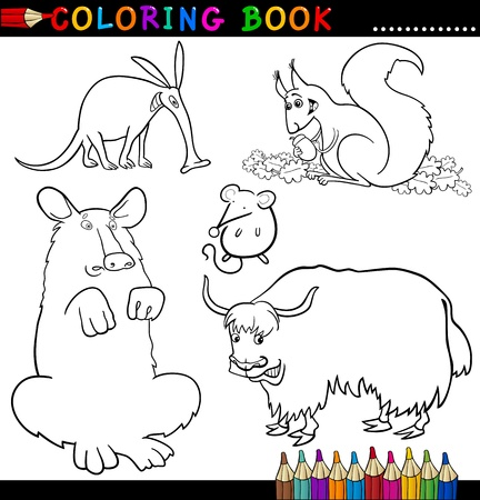 Coloring Book or Page Cartoon Illustration of Funny Wild Animals for Children Vector