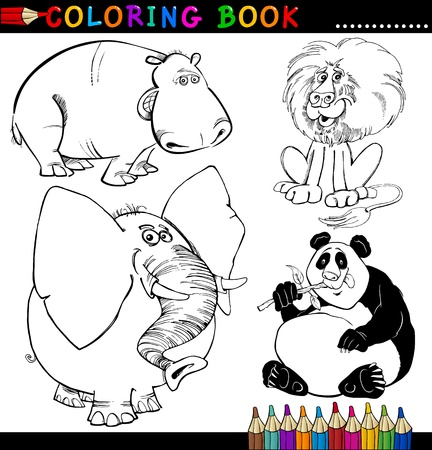 Coloring Book or Page Cartoon Illustration of Funny Wild and Safari Animals for Children Vector