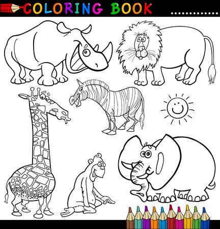 Libro para colorear o ilustraci�n de la historieta de la p�gina Divertido Salvaje y Animales de Safari para Ni�os