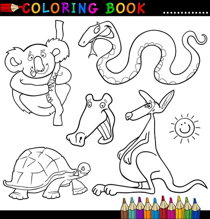 Coloring Book or Page Cartoon Illustration of Funny Wild Animals for Children Stock Vector - 15076926