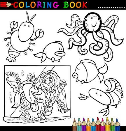 Coloring Book or Page Cartoon Illustration of Funny Marine Animals and Sea Life for Children Vector