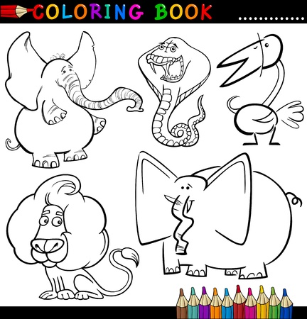 Coloring Book or Page Cartoon Illustration of Funny Wild and Safari Animals for Children Stock Vector - 15076927