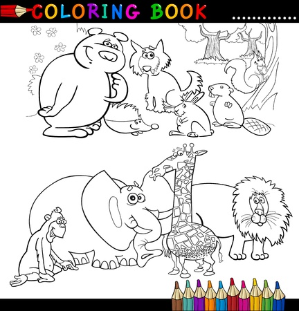 Coloring Book or Page Cartoon Illustration of Funny Wild and Safari Animals for Children Stock Vector - 15076932