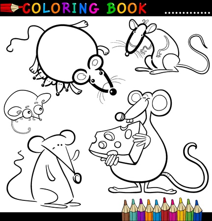 Coloring Book or Page Cartoon Illustration of Funny Rats and Mouses for Children Vector