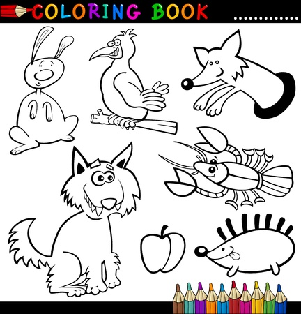 black and white wolf: Coloring Book or Page Cartoon Illustration of Funny Wild and Forest Animals for Children Illustration