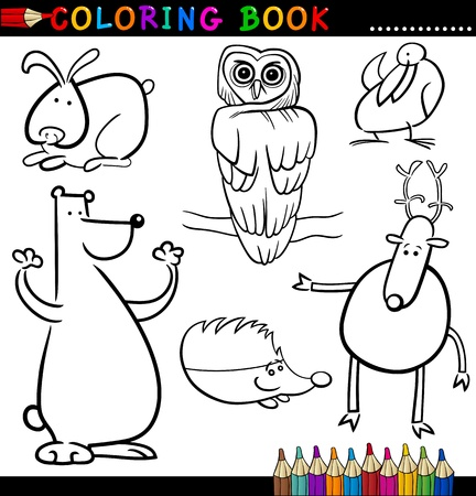 black and white forest: Coloring Book or Page Cartoon Illustration of Funny Wild and Forest Animals for Children Illustration