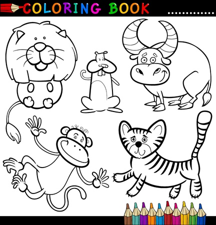tiger page: Coloring Book or Page Cartoon Illustration of Funny Wild and Safari Animals for Children