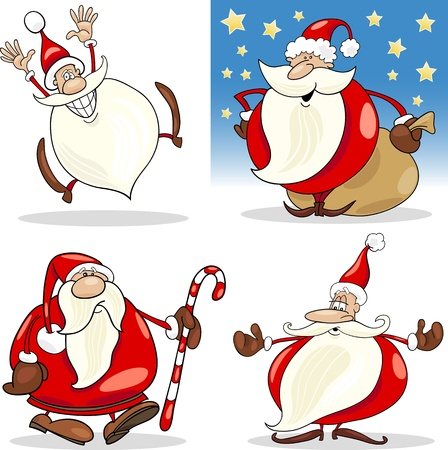 Cartoon Illustration of Funny Four Christmas Santa Clauses set