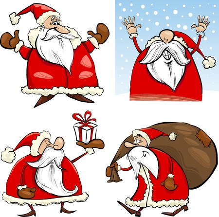 santa claus greeting: Cartoon Illustration of Funny Four Christmas Santa Clauses set