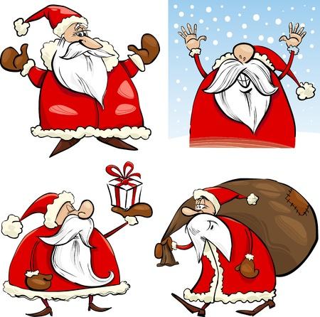 weihnachtsmann lustig: Cartoon Illustration von Funny Four Christmas Weihnachtsm�nner eingestellt