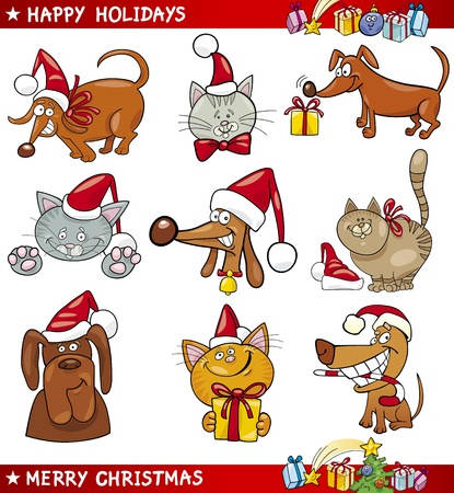 Cartoon Illustration of Christmas Themes with Cats and Dogs set Illustration