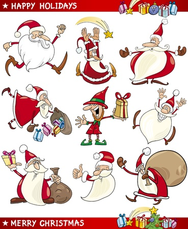 Cartoon Illustration of Santa Clauses, Christmas Elf and other Themes set