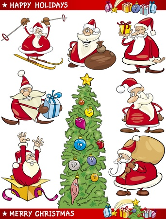Cartoon Illustration of Santa Clauses, Christmas Tree and other Themes set